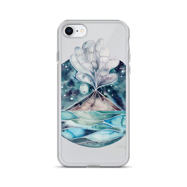 Stromboli Volcano at Midnight – Blue Palette • iPhone Case (Transparent)