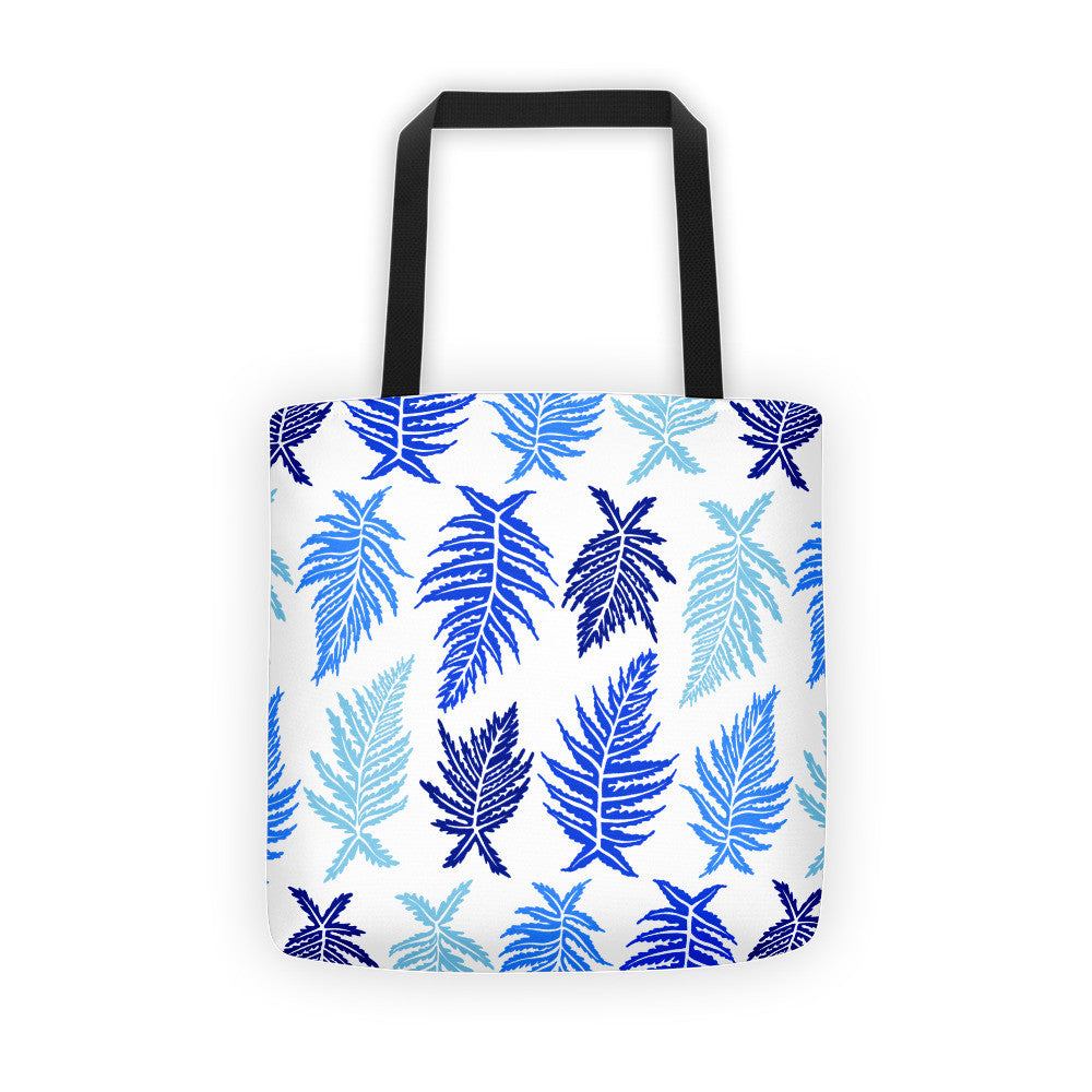 Inked Ferns – Blue Ombré Ink • Tote Bag