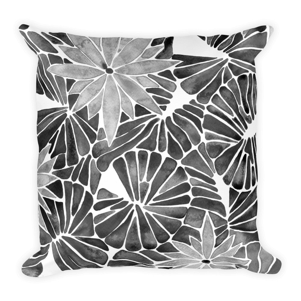 Water Lilies – Black Palette  •  Square Pillow