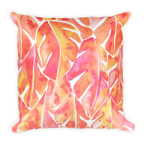 Split Leaf Philodendron – Peach Palette • Square Pillow