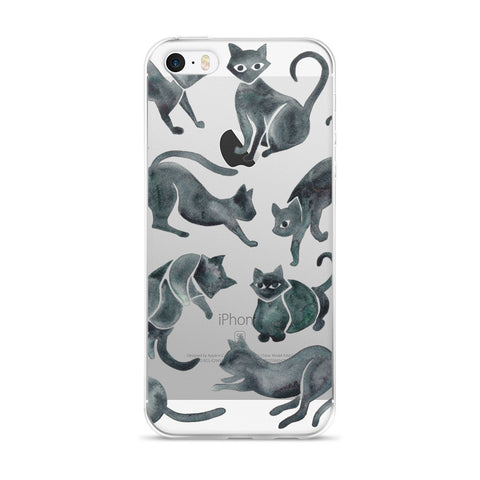 Cat Positions – Black Palette  •  iPhone 5/5s/Se, 6/6s, 6/6s Plus Case (Transparent)
