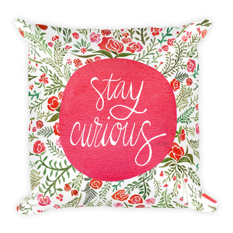 Stay Curious – Pink & Green Palette • Square Pillow