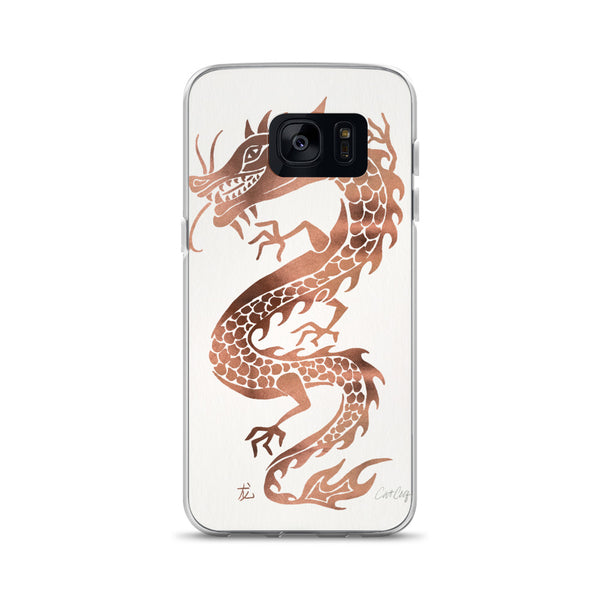 Chinese Dragon – Rose Gold Palette on White • Samsung Case