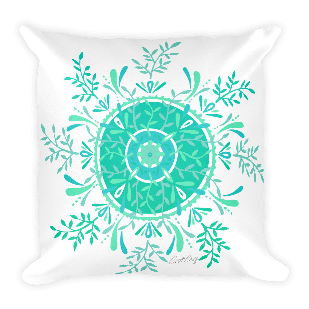 Leaf Mandala – Mint Palette  •  Square Pillow