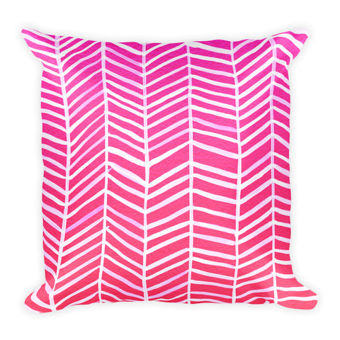 Herringbone – Hot Pink Palette • Square Pillow