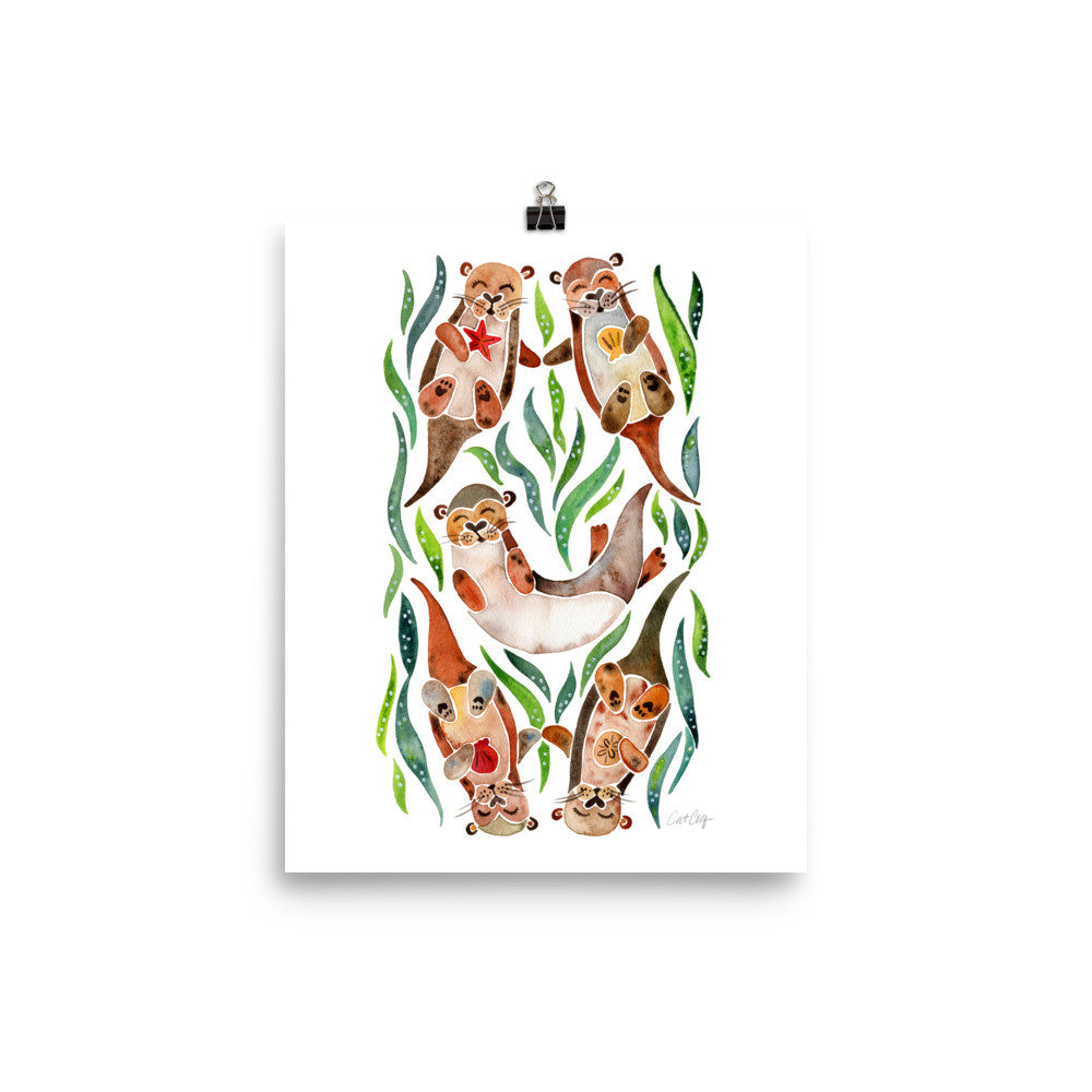 Five Otters – Green Seaweed • Art Print