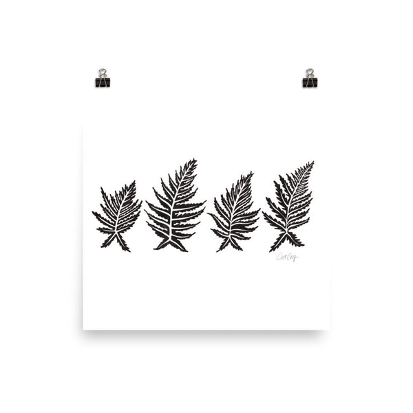 Inked Ferns – Black Ink • Art Print