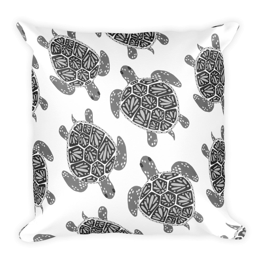 Sea Turtle – Black Palette  •  Square Pillow