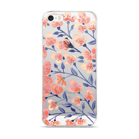 Cherry Blossoms – Peach & Steel Blue Palette • iPhone 5/5s/Se, 6/6s, 6/6s Plus Case (Transparent)