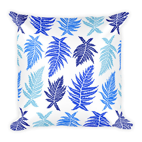 Inked Ferns – Blue Ombré Ink • Square Pillow