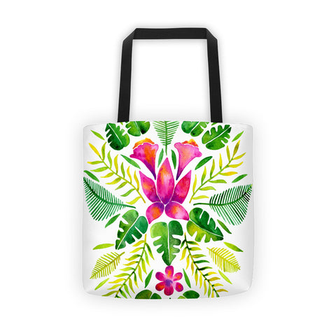 Tropical Symmetry – Pink & Green Palette • Tote Bag