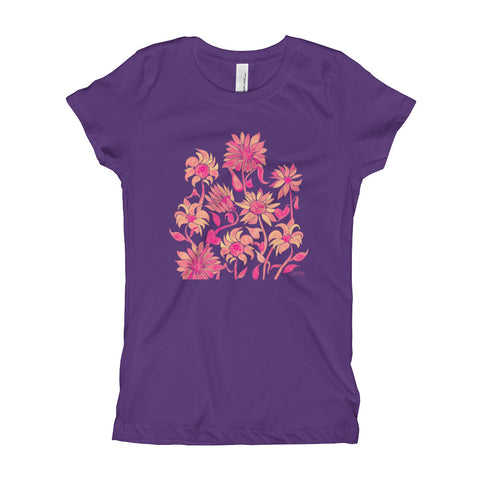 Sunflowers – Pink Palette • Girl's T-Shirt