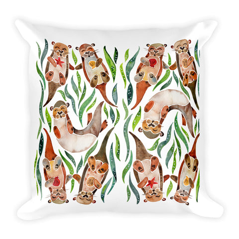 Five Otters – Green Seaweed Seaweed • Square Pillow