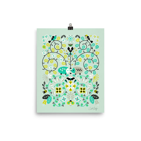 Hedgehog Lovers – Mint Green Palette • Art Print