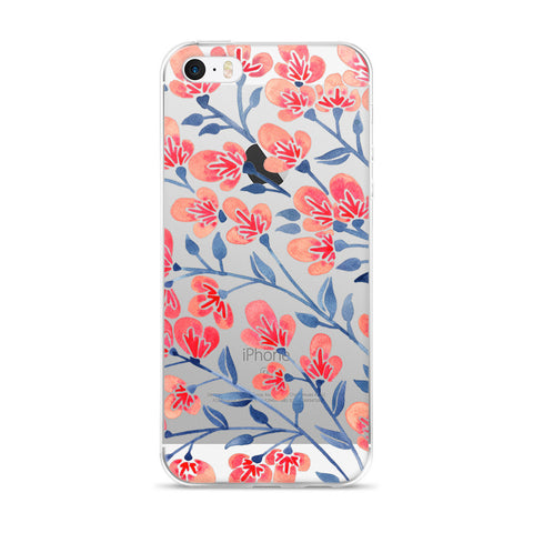 Cherry Blossoms – Melon & Navy Palette • iPhone 5/5s/Se, 6/6s, 6/6s Plus Case (Transparent)