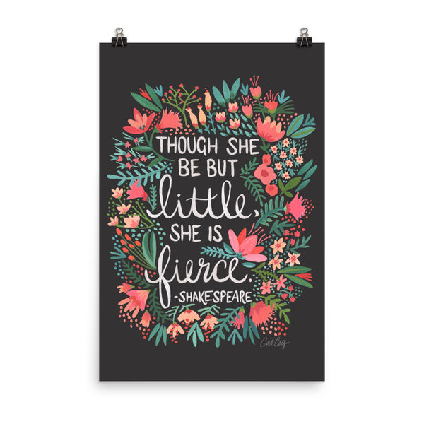 Little & Fierce on Charcoal • Art Print