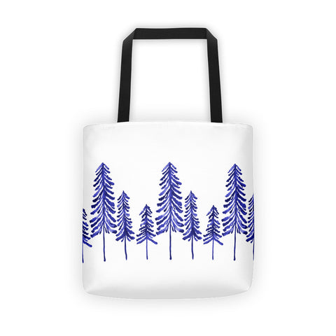 Pine Trees – Navy Palette • Tote Bag