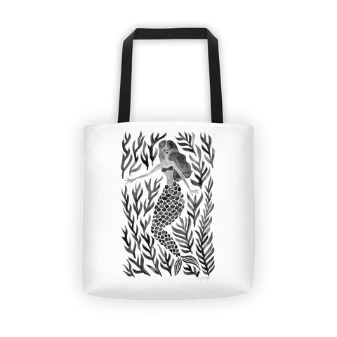 Kelp Forest Mermaid – Black Palette • Tote Bag