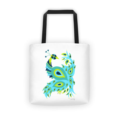 Peacock – Turquoise & Lime Palette • Tote Bag