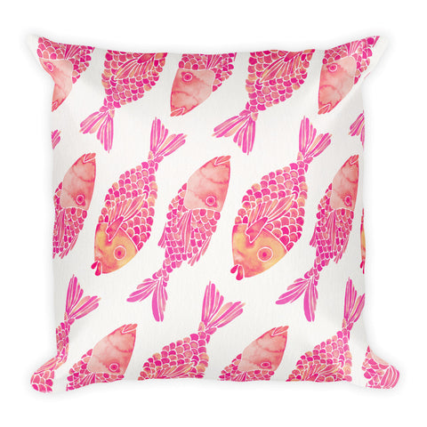 Indonesian Fish – Pink Palette  •  Square Pillow