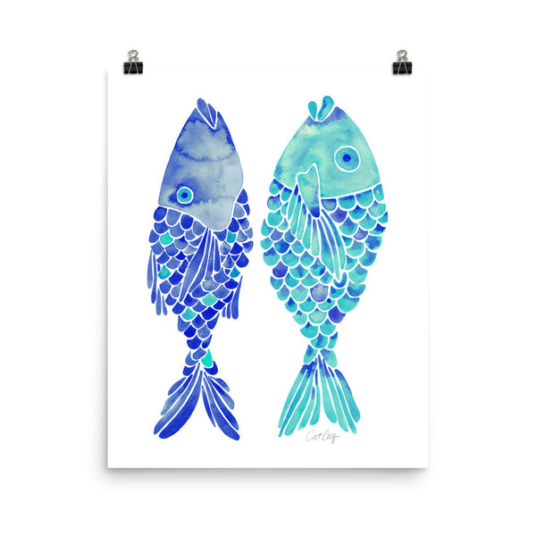 Indonesian Fish – Navy & Turquoise Palette • Art Print