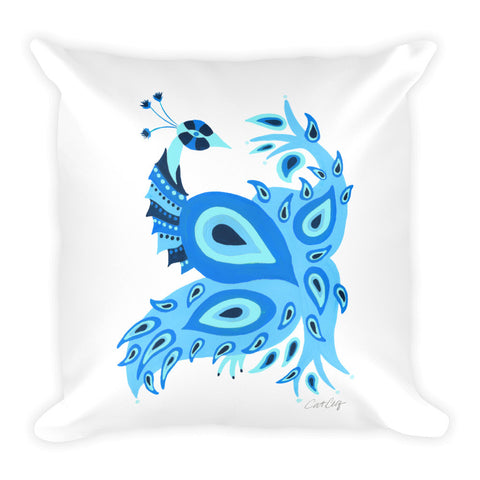 Peacock – Navy & Blue Palette • Square Pillow