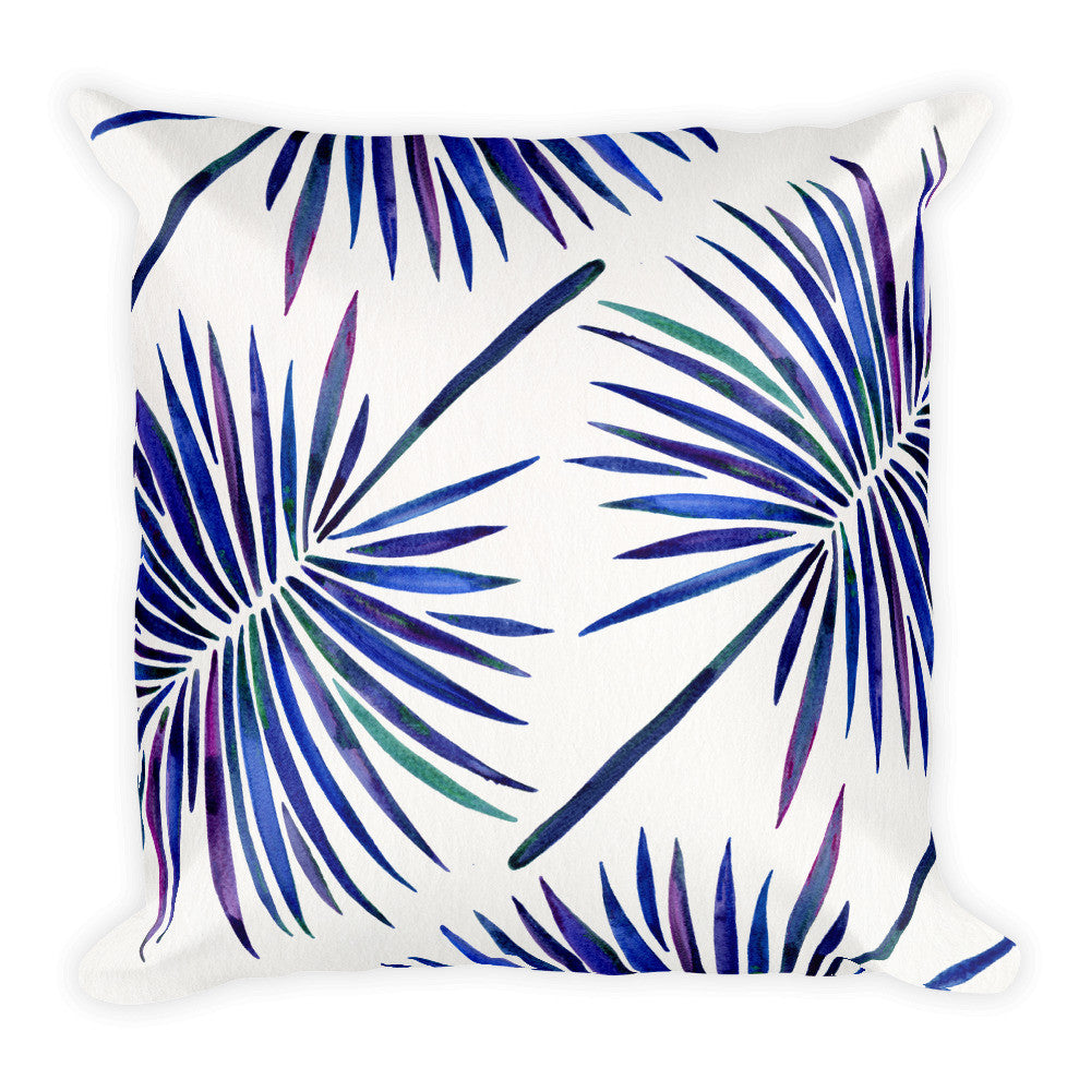 Fan Palm – Indigo Palette  •  Square Pillow