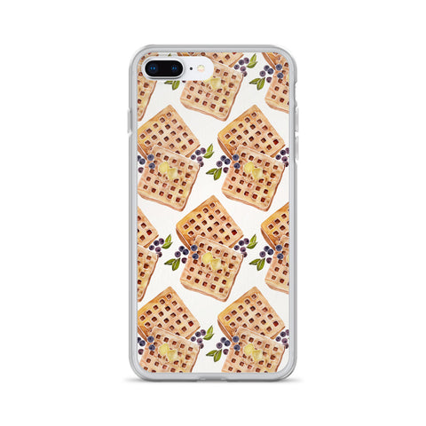 Blueberry Breakfast Waffle Pattern • iPhone Case