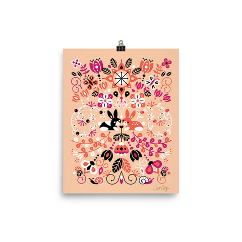 Bunny Lovers – Orange & Pink Palette • Art Print