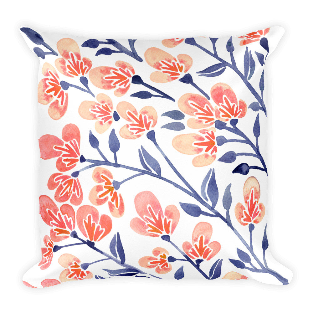 Cherry Blossoms – Peach & Steel Blue Palette • Square Pillow