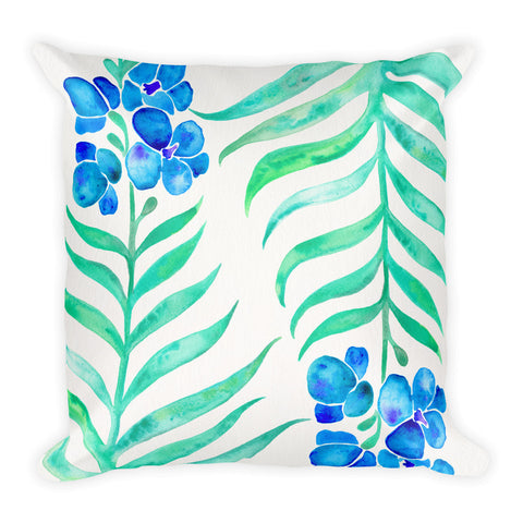 Orchid Bloom – Blue & Mint Palette • Square Pillow