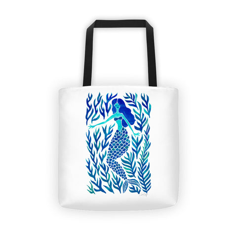 Kelp Forest Mermaid – Navy Palette • Tote Bag