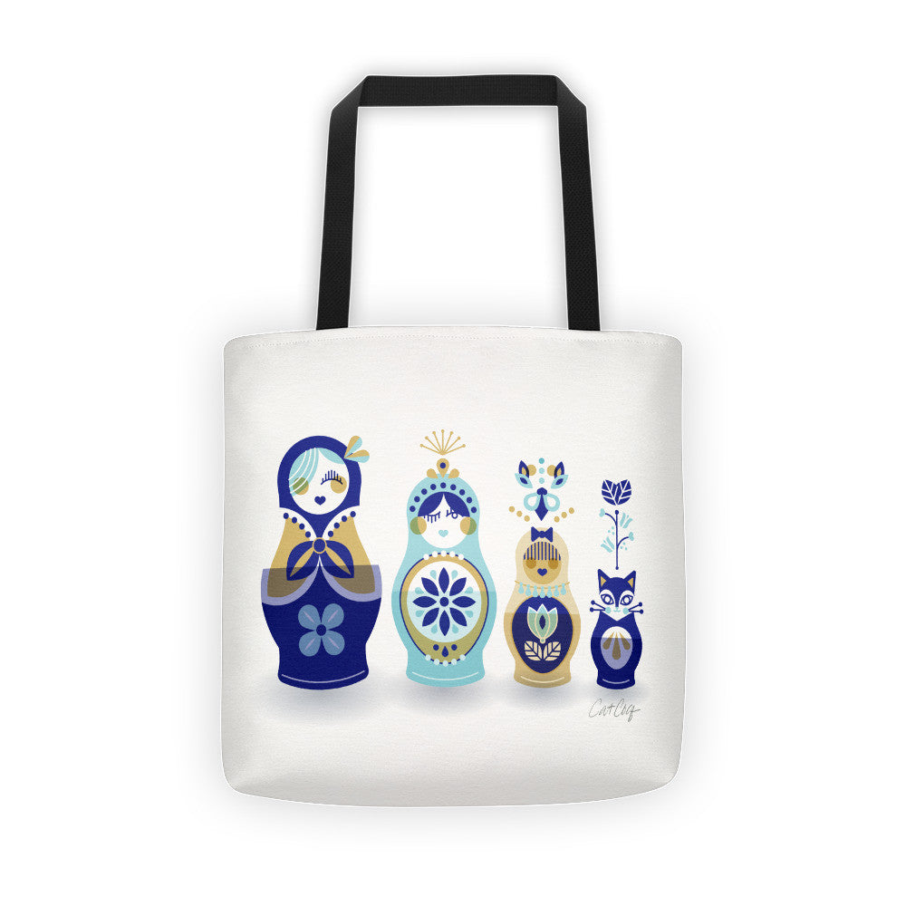 Russian Nesting Dolls – Blue & Gold Palette  •  Tote Bag