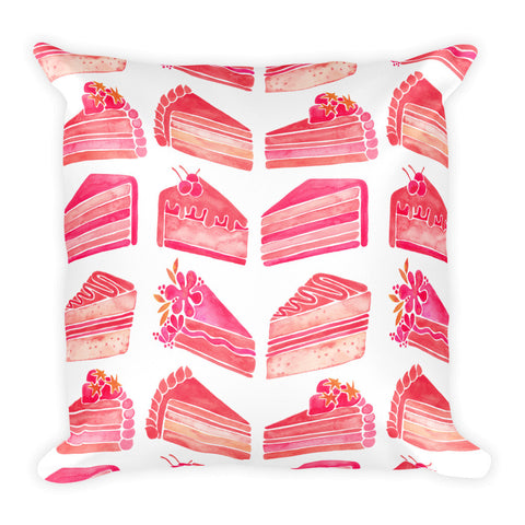 Cake Slices – Pink Ombré Palette • Square Pillow