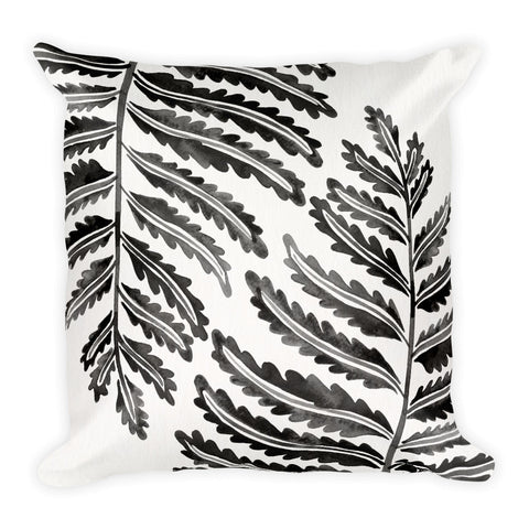 Fern Leaf – Black Palette •  Square Pillow