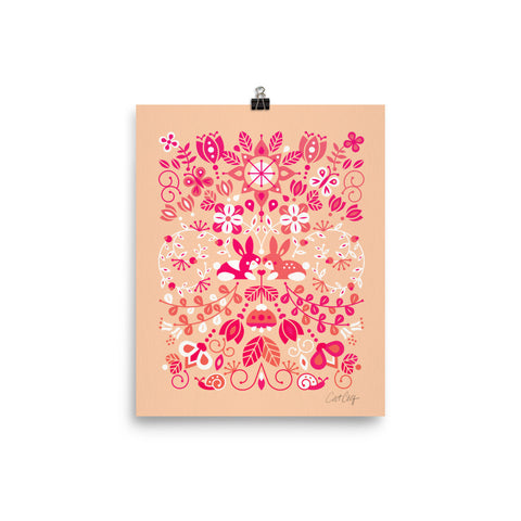Bunny Lovers – Pink & Peach Palette • Art Print