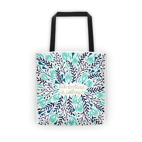 Adventure is Calling – Turquoise & Navy Palette  •  Tote Bag