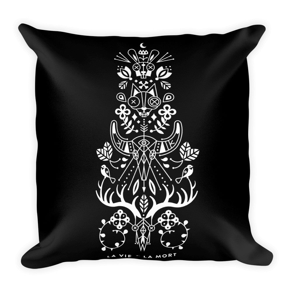 La Vie & La Mort – White Ink on Black Palette • Square Pillow