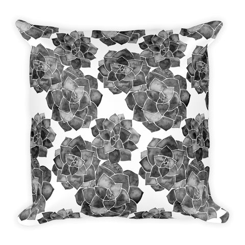 Rosette Succulents – Black Palette • Square Pillow