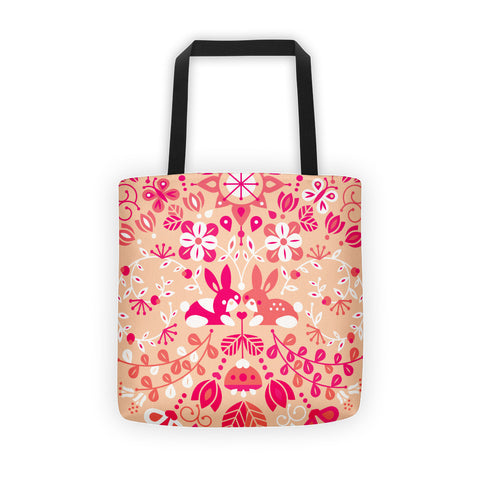 Bunny Lovers – Pink & Peach Palette  •  Tote Bag
