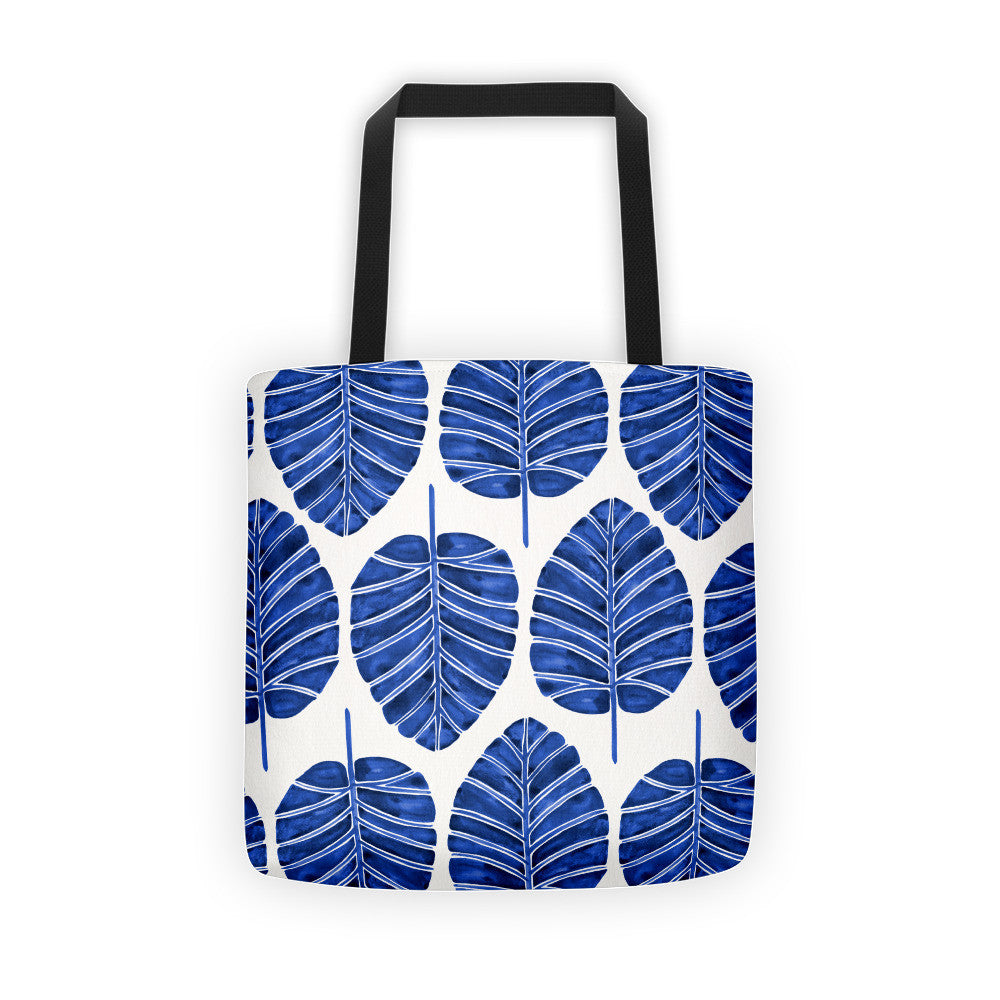 Elephant Ear Alocasia – Navy Palette  •  Tote Bag