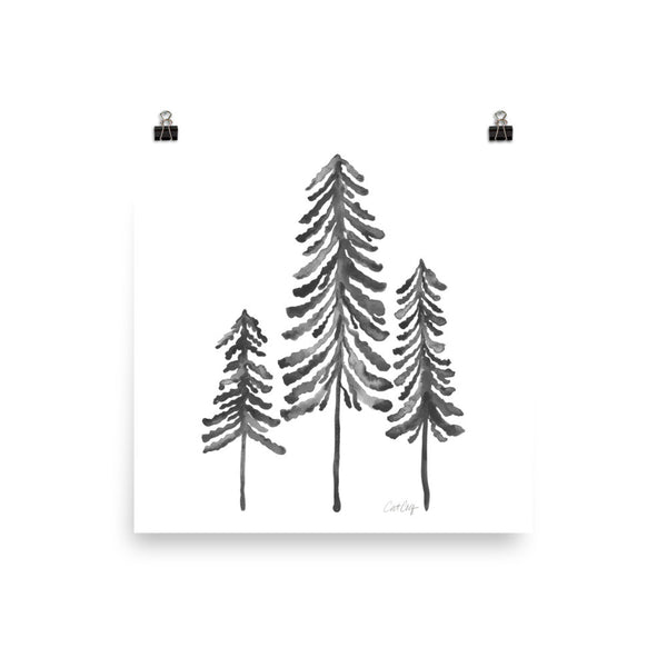 Pine Trees – Black Palette • Art Print