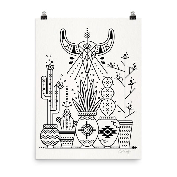 Santa Fe Garden – Black Ink  •  Art Print