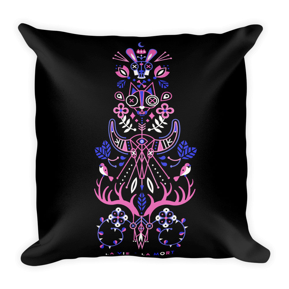 La Vie & La Mort – Pink & Black Palette • Square Pillow