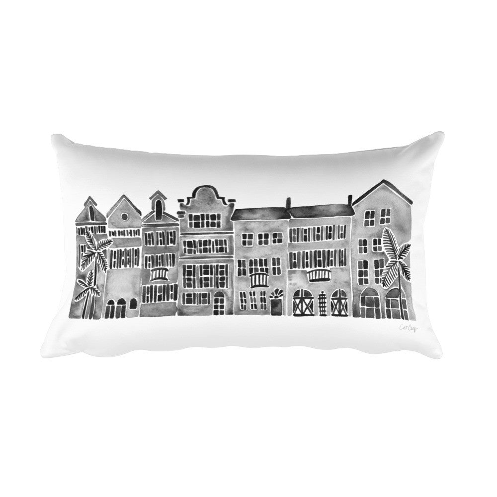 Row of Houses – Black Palette • Rectangular Pillow
