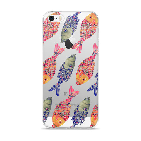 Indonesian Fish – Navy & Red Palette  •  iPhone 5/5s/Se, 6/6s, 6/6s Plus Case (Transparent)