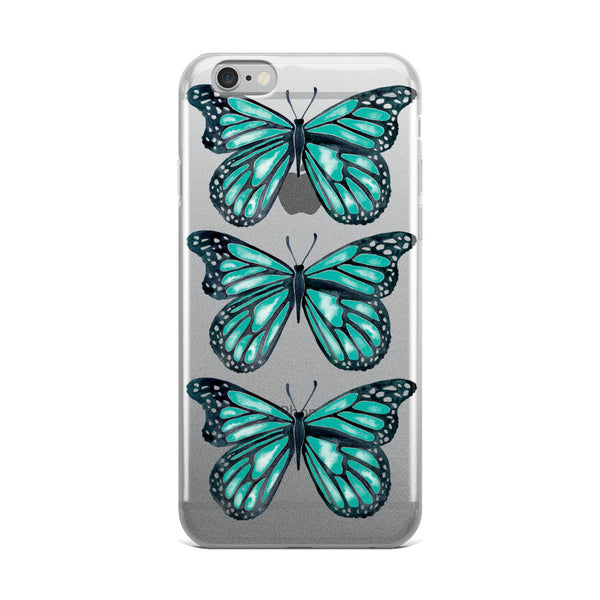 Butterfly – Turquoise Palette • iPhone Case (Transparent)