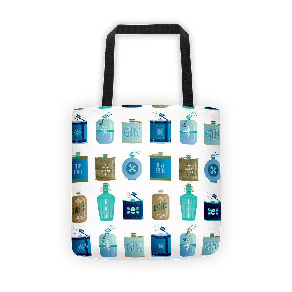Flask Collection – Blue & Brown Palette • Tote Bag