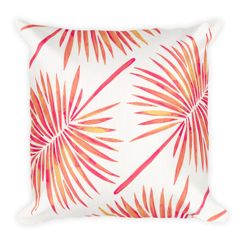 Fan Palm – Pink Palette  •  Square Pillow