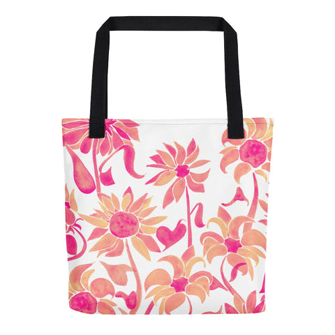 Sunflower Watercolor – Pink Palette • Tote Bag